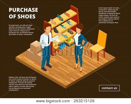Retail Shoe Market. Shop Store Of Foot For Male And Female Dressing Room Interior Casual Clothes Vec