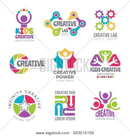 Creative Logo Templates. Colorful Abstract Logotypes For Developers Creators Science Symbols Thinkin