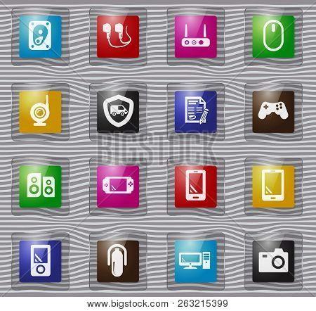 Supermarket Electronic Vector Glass Icons For User Interface Design