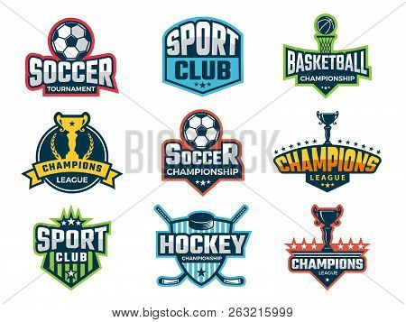 Sport Emblem. Super Star World Cup Competition Badges Logos And Vector Sticker. Sport Competition Lo