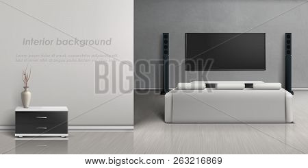 Vector Realistic Mockup Of Living Room With Modern Home Theater System. Interior Background With Fur