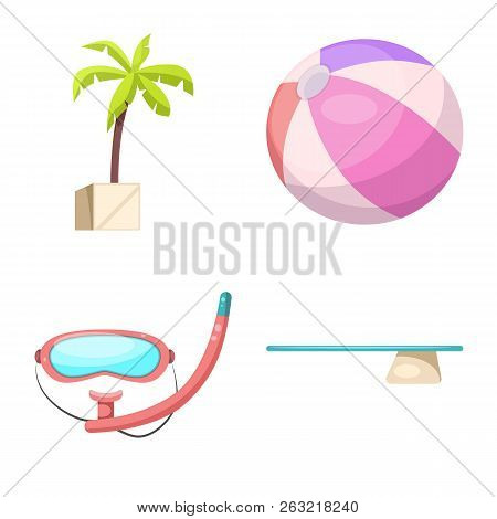 Vector Illustration Of Pool And Swimming Symbol. Collection Of Pool And Activity Stock Symbol For We