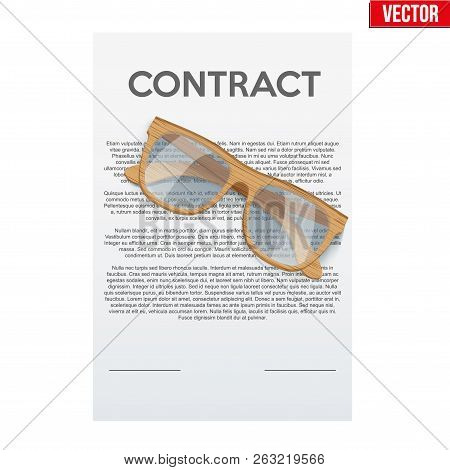 Concept Of Attentive And Careful Research Legal Contract Before Signing. Contract Document And Glass