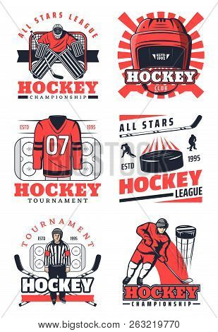 Ice Hockey Sport Game Vector Icons And Symbols. Players In Uniform On Skates, Pucks And Sticks, Prot