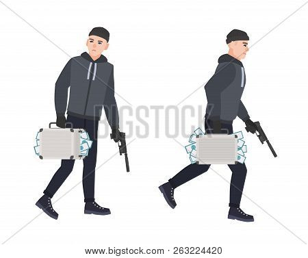Sneaking Thief, Burglar Or Robber Holding Gun And Carrying Case Full Of Stolen Money. Robbery Or The