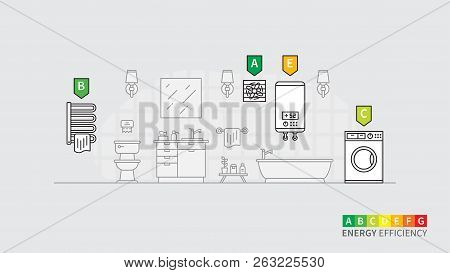 Energy Consumption Of Electric Devices For Bathroom Vector Illustration. Bathroom Interior With Wash