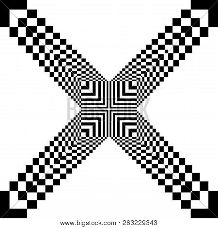Abstract Arabesque Target Fence Cross Like Perspective Black On Transparent Background
