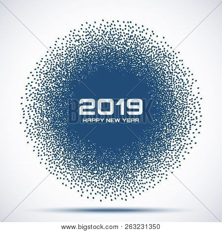 New Year 2019 Card Background. Christmas Violet Blue Circle Frame. Circle Dots Texture. Vector Illus