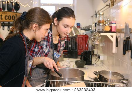 Moscow, Russia, November 21, 2017: Unidentified Teenager Kids Cooking Pasta On Culinary Master Class
