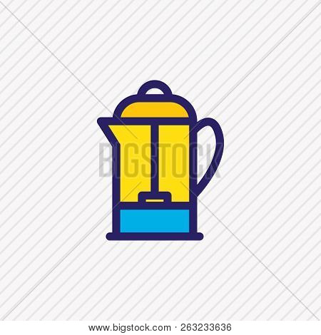 Vector Illustration Of French Press Icon Colored Line. Beautiful Coffee Element Also Can Be Used As