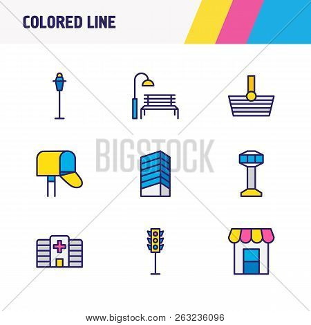 Illustration Of 9 City Icons Colored Line. Editable Set Of Storefront, Hospital, Park And Other Icon