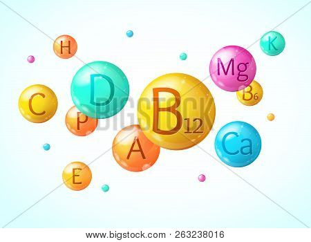 Realistic Detailed 3d Falling Vitamin And Mineral Background Card. Vector