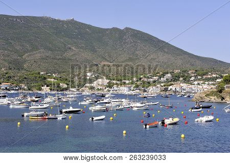 Panorama Of The Village Of Cadaques In The Spanish Region Of Catalonia Bordered By The Mediterranean