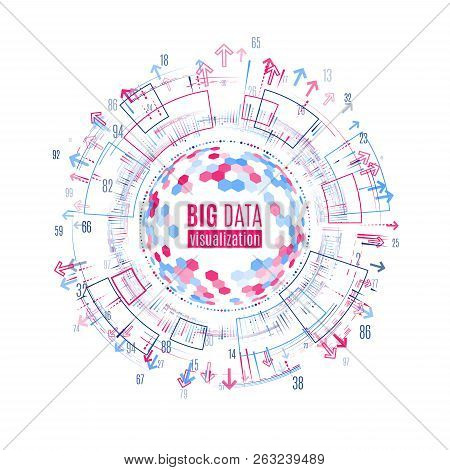 Big Data Visualization. Abstract Background With Dots Array And Lines. Connection Structure. Data Ar