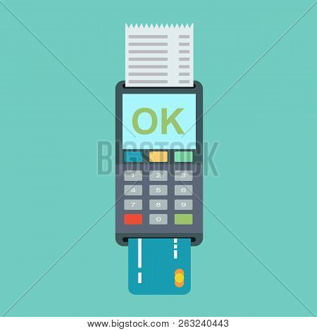 Pos Terminal In Flat Style. Pos Payment. Illustration Pos Machine Or Credit Card Terminal. Concept O