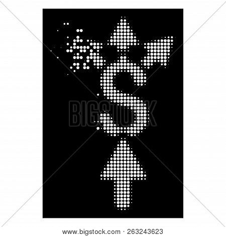 Share Payment Icon With Dissolving Effect On Black Background. White Sparks Are Combined Into Vector