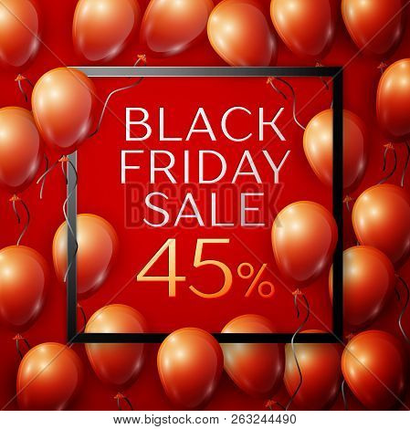 Realistic Red Shiny Balloons With Black Ribbon With Inscription In Centre Black Friday Sale Forty Fi