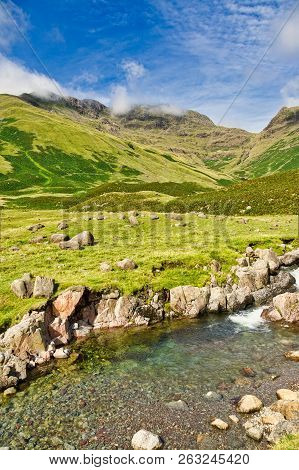 A View Of Esk Pike And Bowfell From The Head Of Langdale.