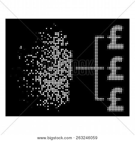 Person Pound Payments Icon With Dissipated Effect On Black Background. White Circle Dots Are Arrange