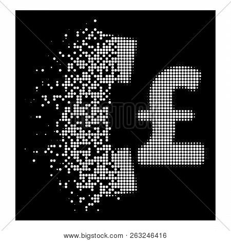 Pound Pay Phone Icon With Dissolving Style On Black Background. White Pieces Are Arranged Into Vecto