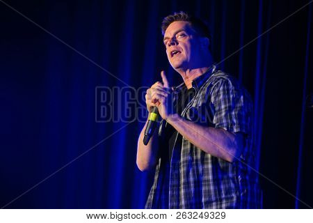 HUNTINGTON, NY - OCT 13: Comedian Jim Breuer performs at the Paramount on October 13, 2018 in Huntington, New York.