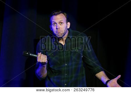 HUNTINGTON, NY - OCT 13: Comedian Bryan McKenna performs at the Paramount on October 13, 2018 in Huntington, New York.
