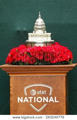 BETHESDA, MD - JULY 1, 2012: A general view of the trophy for the winner of the AT&T National at Congressional Country Club.