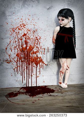 3d Rendering Of An Evil Gothic Looking, Blood Covered Small Girl Standing With Blood Splatter On The