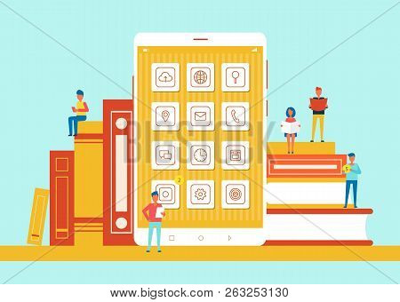 People Small In Size Sitting On Books, Phone Screen With Icons In Centerpiece, Modern Sources Versus