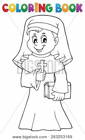 Coloring Book Happy Nun Topic 1 - Eps10 Vector Picture Illustration.