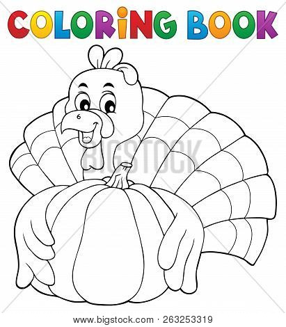 Coloring Book Turkey Bird And Pumpkin 1 - Eps10 Vector Picture Illustration.