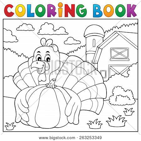 Coloring Book Turkey Bird And Pumpkin 2 - Eps10 Vector Picture Illustration.