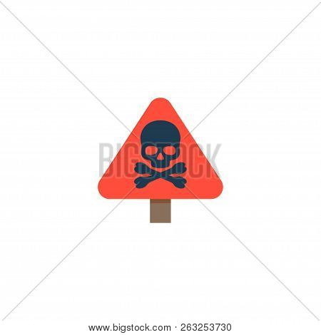 Danger Sign Icon Flat Element. Vector Illustration Of Danger Sign Icon Flat Isolated On Clean Backgr