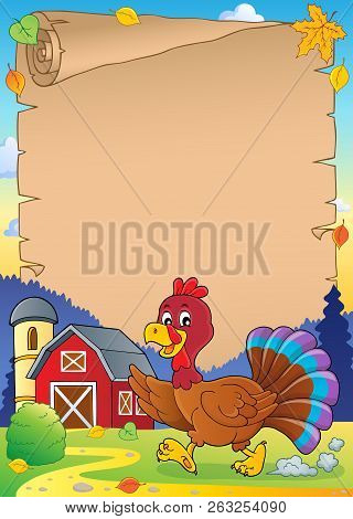 Running Turkey Bird Theme Parchment 1 - Eps10 Vector Picture Illustration.
