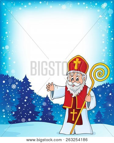 Saint Nicholas Topic Frame 1 - Eps10 Vector Picture Illustration.