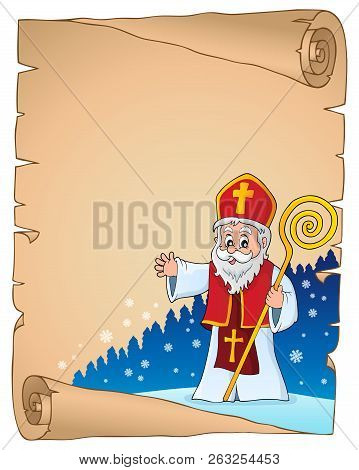 Saint Nicholas Topic Parchment 2 - Eps10 Vector Picture Illustration.
