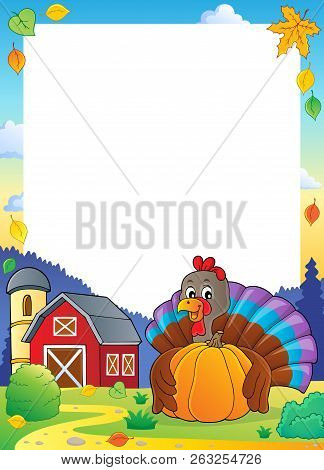 Turkey Bird Holding Pumpkin Frame 2 - Eps10 Vector Picture Illustration.