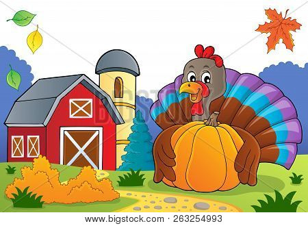 Turkey Bird Holding Pumpkin Theme 3 - Eps10 Vector Picture Illustration.