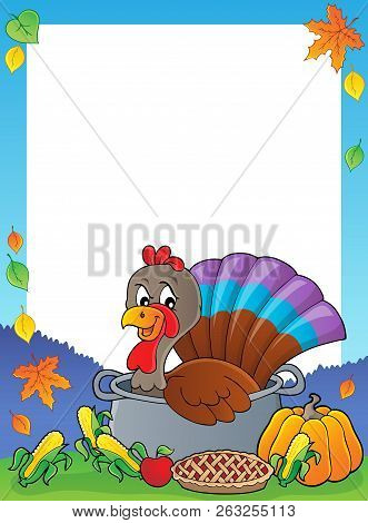 Turkey Bird In Pan Theme Frame 1 - Eps10 Vector Picture Illustration.