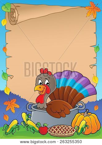 Turkey Bird In Pan Theme Parchment 1 - Eps10 Vector Picture Illustration.
