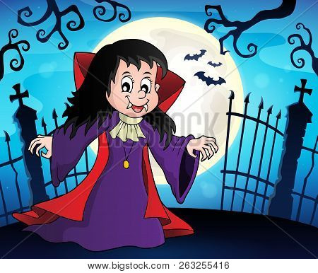Vampire Girl Theme Image 8 - Eps10 Vector Picture Illustration.