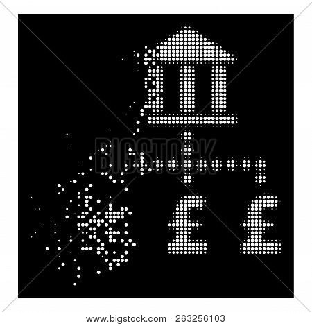Pound Bank Payments Icon With Dissolving Effect On Black Background. White Circles Are Grouped Into