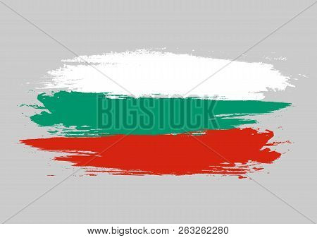 Brush Bulgaria National Flag. Bulgaria Flag Isolated On White Background. World Flag. Vector Stock.