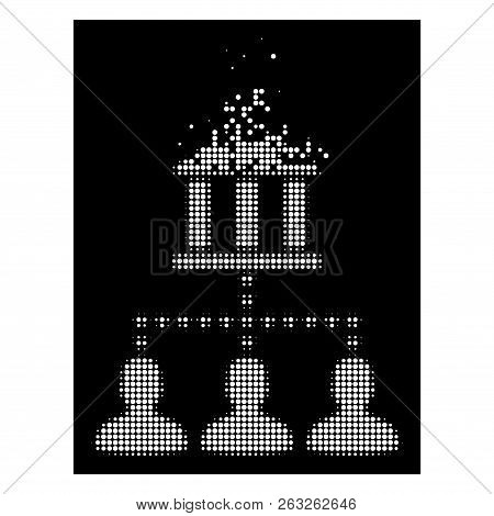 Bank Building Client Links Icon With Disappearing Effect On Black Background. White Circle Dots Are