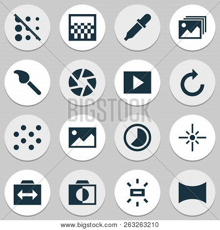 Image Icons Set With Slideshow, Shutter, Timelapse And Other Reload Elements. Isolated Vector Illust