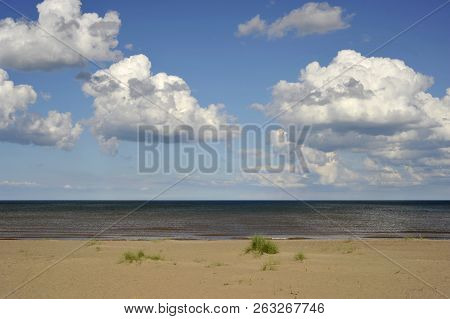 Empty Sandy Beach And Sky Landscape At Mablethorpe A  Seaside Town On The Lincolnshire Coast.