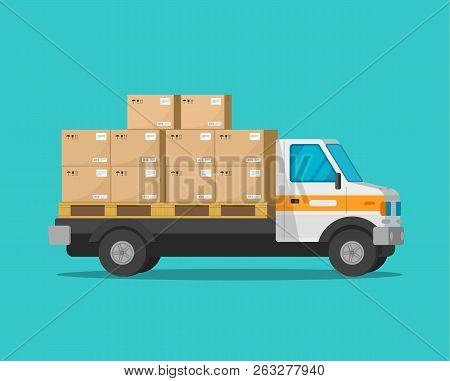Delivery Truck With Parcel Cargo Boxes Vector Illustration, Flat Cartoon Freight Van Or Lorry Automo