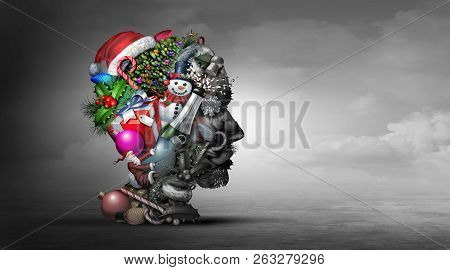 Winter Holiday Depression Psychology Or Psychiatry Mental Health Concept Representing The Idea Of Fe