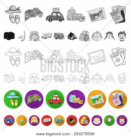 Family Holiday Flat Icons In Set Collection For Design. Recreation And Equipment. Vector Symbol Stoc