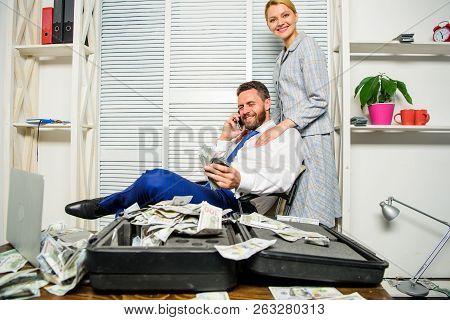 Man Successful Businessman Phone Conversation While Assistant Do Shoulders Massage. Businessman Rich